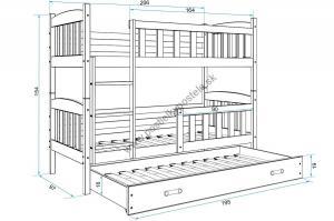 Poschodová posteľ s prístelkou KUBO 3 - 200x90cm Borovica - Modrá