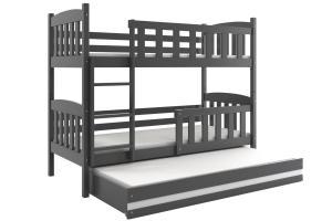 Poschodová posteľ s prístelkou KUBO 3 - 200x90cm Grafitová - Biela