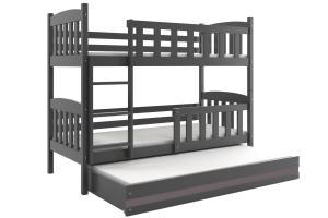 Poschodová posteľ s prístelkou KUBO 3 - 200x90cm Grafitová - Grafitová