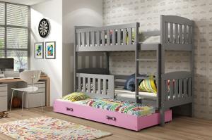 Poschodová posteľ s prístelkou KUBO 3 - 200x90cm Grafitová - Ružová