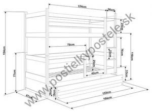 Poschodová posteľ s prístelkou RICO 3 - 160x80cm - Biely - Blankytný