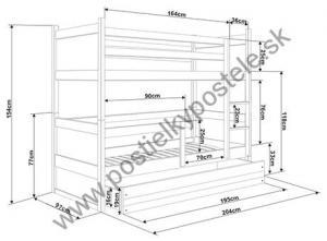 Poschodová posteľ s prístelkou RICO 3 - 200x90cm - Biely - Blankytný