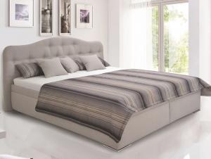 Posteľ Artena 180x200 cm, svetlo šedá tkanina / vzor prúžkov