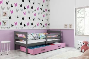 Posteľ - ERIK 1 - 190x80cm Grafitový - Ružový