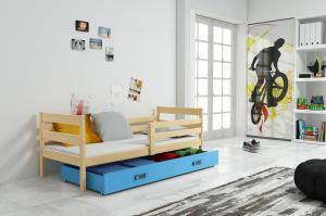 Posteľ ERIK 1 - 200x90cm Borovica - Modrý