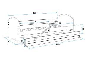 Posteľ LUKI 160x80cm - Biela - nálepka Tommy vlak