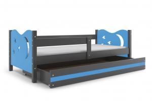 Posteľ MIKULÁŠ - 160x80cm - Grafitový - Modrý