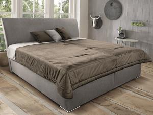 Posteľ Monte 180x200 cm, béžová tkanina/deka/vakúše