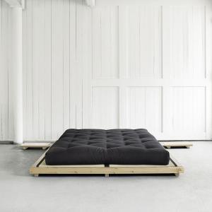 Posteľ s matracom Dock 160 + Comfort Mat – Clear lacquered/Black