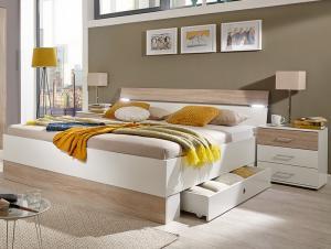 Posteľ s nočnými stolíkmi Cheep 180x200 cm, biela/dub sonoma