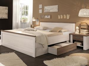 Posteľ s nočnými stolíkmi Luca 180x200 cm, bielená pínia