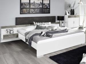 Posteľ s nočnými stolíkmi Penzberg 160x200 cm, biela/betón