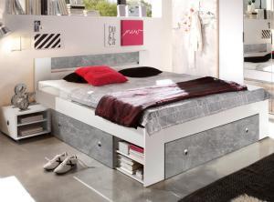 Posteľ s nočnými stolíkmi Stefan 140x200 cm, šedý beton/biela
