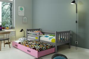 Posteľ s prístelkou CARINO 2 - 190x80cm Grafitová - Ružová