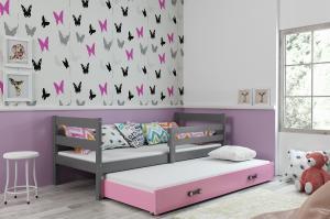 Posteľ s prístelkou ERIK 2 - 200x90cm Grafitový - Ružový