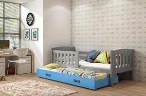 Posteľ s prístelkou KUBO 2 - 200x90cm Grafitový - Modrý