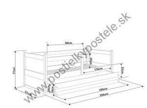 Posteľ s prístelkou RICO 2 - 200x90cm - Biely - Blankytný