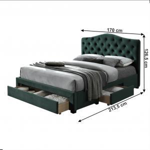 Posteľ, smaragdová Velvet látka, 160x200, KESADA