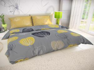 Posteľná bielizeň bavlna Grace sivá/žltá Veľkosť: obliečka na vankúšik 40x40cm