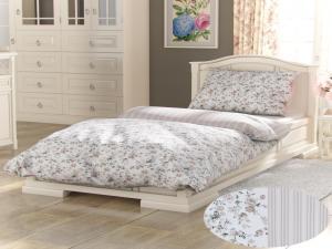 Posteľná bielizeň bavlna Provence - Viento Barva: béžová/biela, Velikost: dvojlôžko 220x200cm + 2x 70x90cm