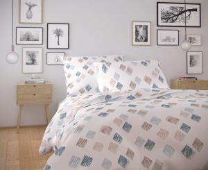 Posteľná bielizeň NORDIC COLLECTION Agnes Barva: biela/modrá/béžová, Velikost: obliečka na vankúšik 40x40cm
