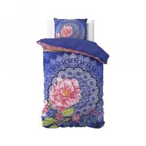 Posteľné obliečky Aisha, modrá/ružová 140x220 cm, 2002-25-08
