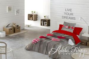 Posteľné obliečky Hearts Natalia red 8581305917443