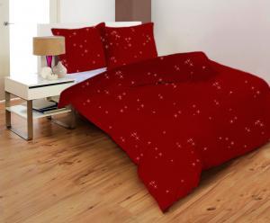 Posteľné obliečky STARS BORDO CHILLI   Mikrovlákno   Metalická potlač   140x200 70x90, Zvýhodnené balenie Zvýhodnené balenie 1+1