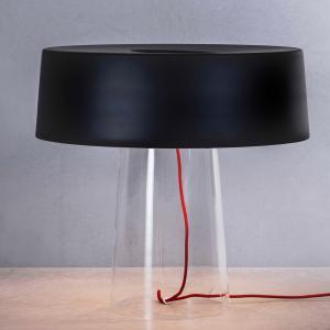 PRANDINA Prandina Glam stolná lampa 48cm číra/tien. čierne