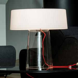 PRANDINA Prandina Glam stolná lampa 48cm číra/tienid. biele