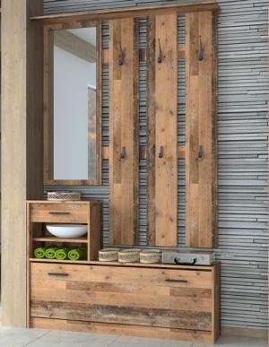 Predsieňová stena Vincent AS-02, vintage optika dreva
