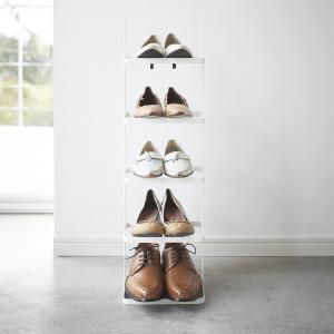 Prenosný stojan na topánky Yamazaki Tower Shoe Rack vysoký, biely