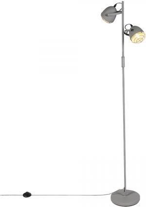 Priemyselná nastaviteľná stojaca lampa šedá 2-svetlá - Rebus