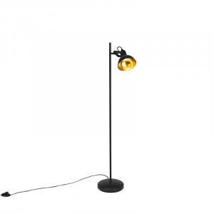 Priemyselná stojaca lampa čierna so zlatým 1 svetlom - Tommy