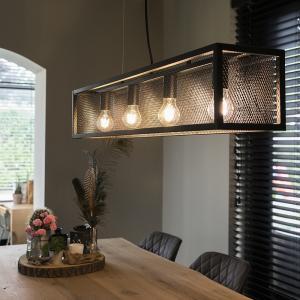 Priemyselná závesná lampa čierna so sieťkou 4-svetlá - Cage