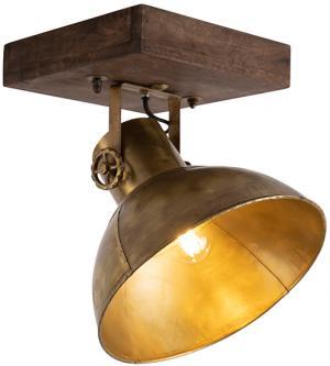 Priemyselný stropný bodový bronz s drevom 30 cm - Mango