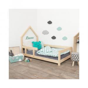 Prírodná detská posteľ domček s ľavou bočnicou Benli Poppi, 90 x 200 cm