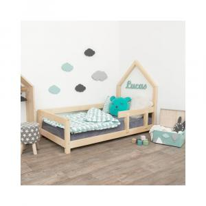 Prírodná detská posteľ domček s pravou bočnicou Benlemi Poppi, 120 x 200 cm