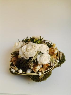 prírodná kvetinová dekorácia white rose 22 cm