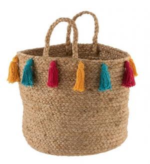 Prírodné jutové košík Tassels s farebnými strapcami - Ø 30*30 cm