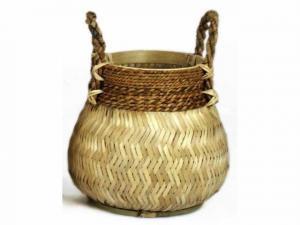 Prírodný bambusový košík s ušami  Valen - ø34 * 24 cm