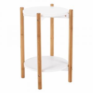 Príručný/nočný stolík, biela/prírodná, BAMP