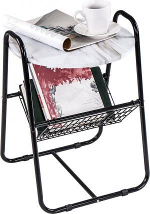 Príručný stolík, mramor/čierna, GARSY