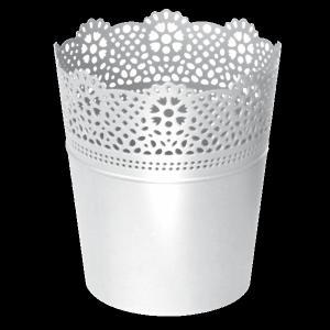 PROSPERPLAST - Obal na kvetináč LACE 18cm biely