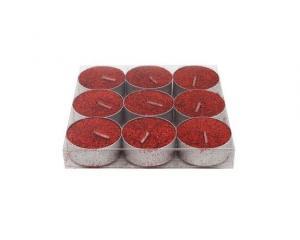Provence Sviečka čajová, trblietavá, 9 ks, červená