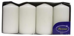 Provence Sviečka valec biela 4 ks, 5 x 9 cm