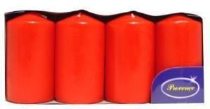 Provence Sviečka valec červená 4 ks, 5 x 9 cm