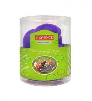 Provence Neparfumovaná plávajúce sviečka PROVENCE 8ks fialová