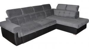 PYKA Atlanta P rohová sedačka s rozkladom a úložným priestorom sivá / čierna