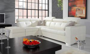 PYKA Etna II L kožená rohová sedačka biela (Madras white)